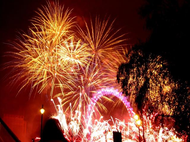 Nytår i London - London Eye fyrværkeri